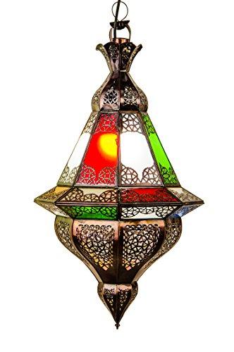 Orientalische Lampe Pendelleuchte Bunt Abdi 60cm E27 Lampenfassung | Marokkanische Design Hängeleuchte Leuchte aus Marokko | Orient Lampen für Wohnzimmer Küche oder Hängend über den Esstisch