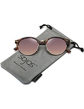 00fd817549 SojoS Gafas De Sol Unisex Clásico Marco Redondo Plástico Doble Puente Metal  Lentes Espejo SJ2031