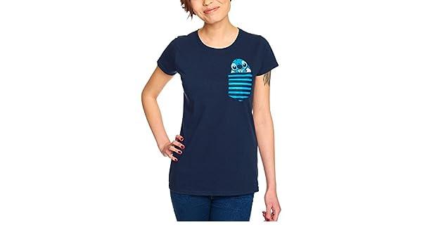 Elbenwald Lilo /& Stitch Disney Femme T-Shirt de Poche de Bleu