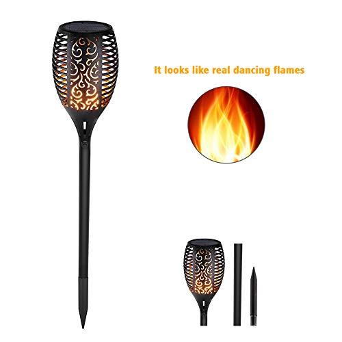 Zubita Flamme Licht, solar fackel Flamme Lampe 96 LED IP65 Wasserdicht für Hinterhöfe Garten Fackeln Licht Flackernder Flammeneffekt Gartenleuchte Dekoration Beleuchtung (Flamme Licht - 2)