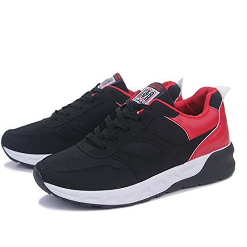 Men's Mesh Thick Soles Lacing Comfortable Walking Shoes red