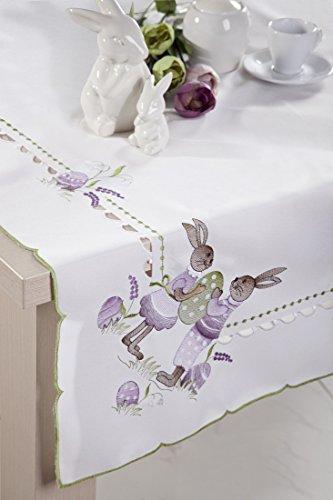 85X 85Bianco Viola viola verde tovaglia tavolo