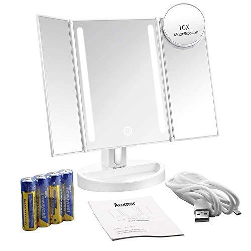 Auxent Kosmetikspiegel mit LED Beleuchtung und Touchscreen aus Kristallglass und ABS Kunststoff, Tischspiegel Schminkenspiegel Beleuchtet mit Blendfreier Bleuchtung für Wohnzimmer, Kosmetikstudio, Spa und Hotel - 9