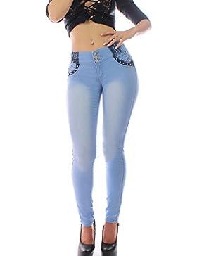 FARINA 1318 Denim Pantalones, Vaqueros de Mujer, Push up/Levanta Cola, Pantalones Vaqueros Elasticos Colombian...