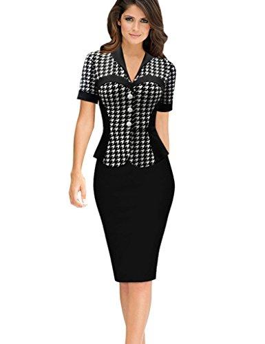 Minetom Damen Elegante Bodycon V Kragen Flouncing Spitzen Party Kleid Cocktailkleid Business Stretch Kleid Houndstooth DE 46 Houndstooth Swing