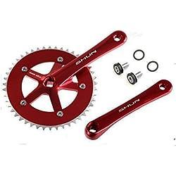 Juego de Plato y Bielas Color ROJO de Aluminio CNC MECANIZADO para Bicicleta Fixie o Singlespeed Urbana 1V 165 mm x 46 T 3742