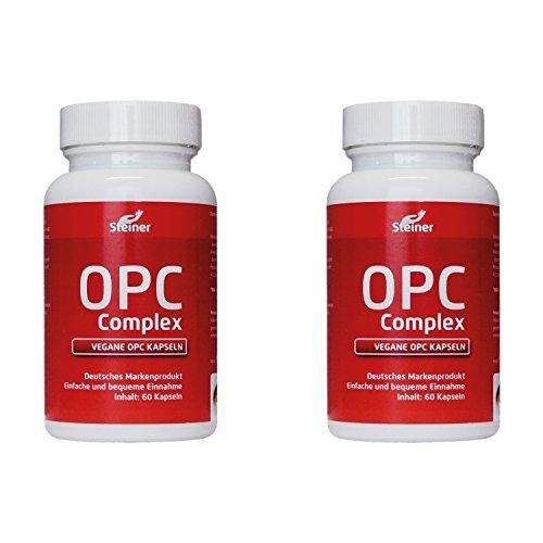 OPC Traubenkernextrakt Kapseln hochdosiert | 600mg Reines OPC Hochdosiert pro Kapsel (95% OPC-Gehalt) OHNE Magnesiumstearat | 120 vegane OPC-Kapseln + 12 mg natürliches Vitamin C | 4 Monatsvorrat Antioxidantien