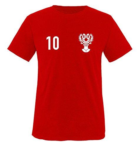 Trikot - Russland - 10 - Kinder T-Shirt - Rot/Weiss Gr. 98-104