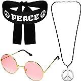 WILLBOND Hippie/Bohemia Costume Set Pace Set, Comprende Occhiali da Sole, Collana e Fascia per Accessori per Feste Anni '60 '70(Stile Hippie, 3 Pezzi)