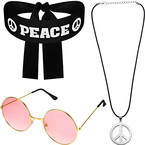 Stil Kostüm 70er Jahre - WILLBOND Hippie Kostüm Satz für Damen Herren, inklusiv Sonnenbrille, Frieden Zeichen Halskette und Frieden Zeichen Stirnband für 60er und 70er Jahre Party Accessoires Frieden Satz(Frieden Stil)