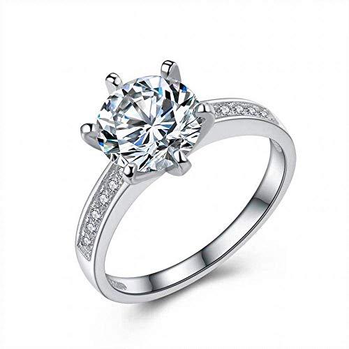 YTTY S925 Sterling Silver Girls Square Black Diamond Inlay Roségold Eröffnung Code Ring, Silber, 6, Silber, 8