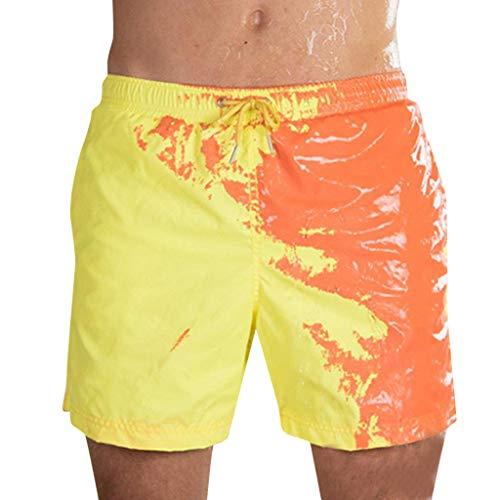 Farbwechselnde Shorts, Chshe TM, Herren Sommer Temperaturempfindliche Farbwechselnde Strandhose Badehose Surfshorts FüR Jungen(Gelb) -