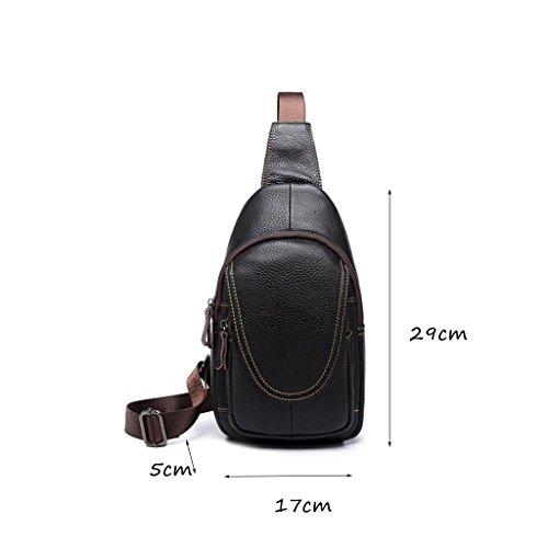 CLOTHES- Versione coreana della traversa trasversale trasversale obliqua dell'unità di elaborazione Moda selvaggia di viaggio di svago Sacchetto di cassa delle coppie dell'uomo ( Colore : Nero ) Brown and black