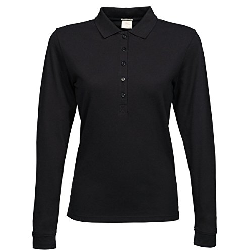 Tee Jays Damen Luxury Stretch Longsleeve / Polo-Shirt, Langarm Schwarz