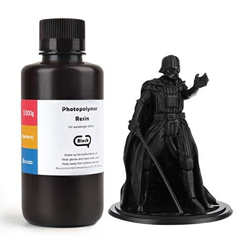 ELEGOO LCD UV 405nm 3D Resina Rápida para LCD Impresora 3D 1000g Fotopolímero Resina Negro
