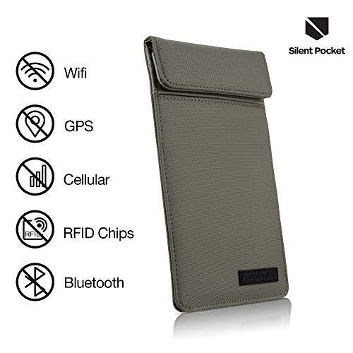 Silent Pocket Faraday Hülle aus natürlichem Nylon, Medium, 19 x 11,4 cm, weiche, Wasserdichte Nylon-Hülle blockiert Das Abhören von Signalen. Kein Leder, mehrere -