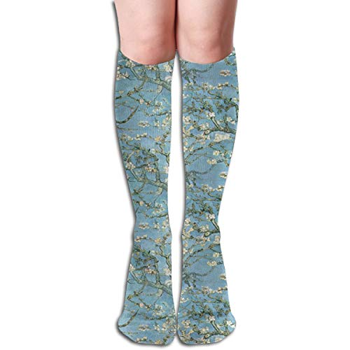 Stocking Vincent Gogh Branches Of An Almond Tree In Blossom ~ Medium Multi Colorful Patterned Knee High Socks 19.6 Inchs ()