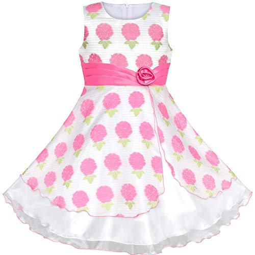 Sunboree Mädchen Kleid Rosa Blumen- Hortensie Ostern Geburtstag Party Gr. 128-134 (Ostern Mädchen Kleider)