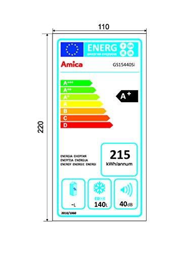 Amica KGC 15440 E Kühl-Gefrier-Kombination / A++ / 181,6 cm Höhe / 190 kWh/Jahr / 188 L Kühlteil / 64 L Gefrierteil / LED-Innenbeleuchtung / Edelstahoptik