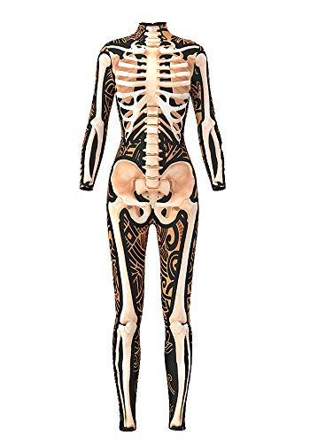 URVIP Damen Halloween Jumpsuit Kostüm 3D Print Langarm Skinny Knochen Skeleton Catsuit Cosplay Skelett Overall Bodysuit Anzug Karneval Fasching BDS-97007 XL