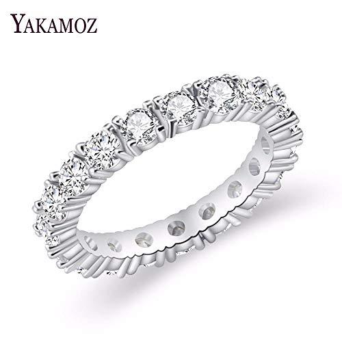 MUATE Schmuck weiße Farbe Inlay Zirkonia einzigartig geformten Ring für Frauen Hochzeit Engagement Größe, 11 (Hochzeit Ringe Größe 11 Frauen)