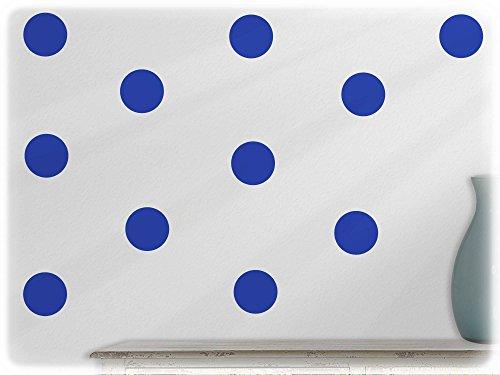 wandfabrik - Wandtattoo - 15 praktische Polka dots in brillantblau (70er Jahre Mode Australien)