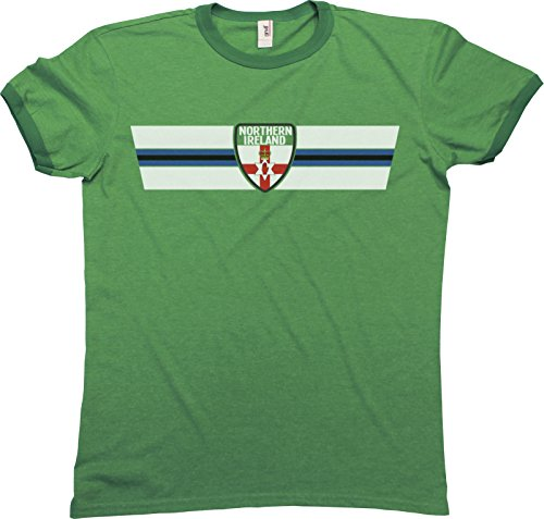 Mens Northern Ireland Retro Strip Patriotic Ringer Herren T-Shirt