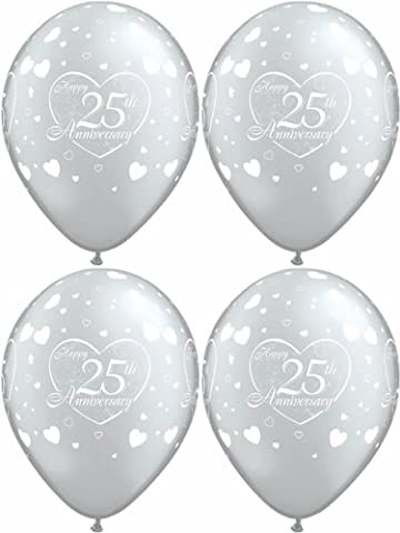10 x 25th, Silver & White, Happy Anniversary, Hearts Balloons