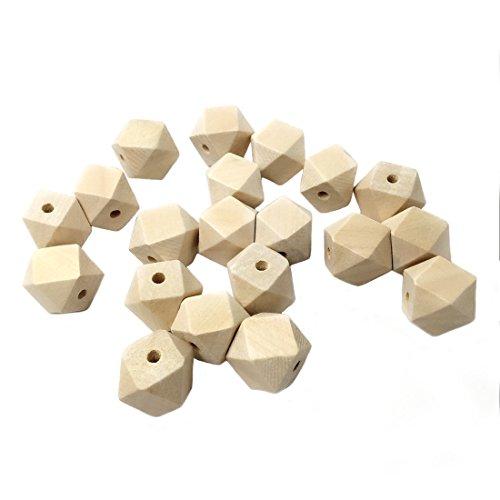 Coskiss 100Pcs 20mm(0.78in) Perle Octagon legno geometriche perle di legno Gioielli fai da te di alimentazione Artigianato del legno (0.78in)