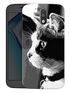 "Humor Gang Cat Monochrome Printed Designer Mobile Back Cover For ""Motorola Moto G4"" (3D, Matte Finish, Premium Quality, Protective Snap On Slim Hard Phone Case, Multi Color)"