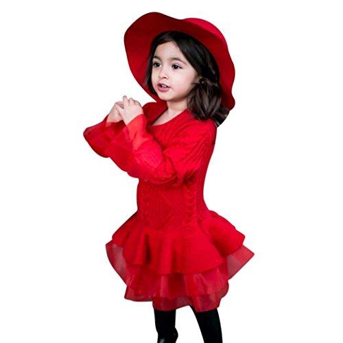 Btruely Baby Pullover Mädchen Gestrickt Sweatshirt Häkeln Tutu Kleid Schön MiniKleid (Rot, 100) -