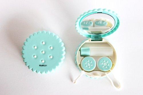 Kontaktlinsenbehälter Aufbewahrungsbehälter Etui Set Spiegel Motiv Keks Blaugrün NEU