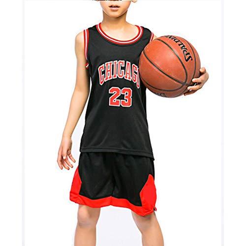 CYGG Kinder Jungen Chicago Bulls Michael Jordan # 23 Trikot Set - Kinder Jungen Mädchen Retro Basketball Trikots Basketball Uniform Sommer Anzüge Kits Top + Shorts-Black-XL(150-156CM) - Jordan Mesh-kleid