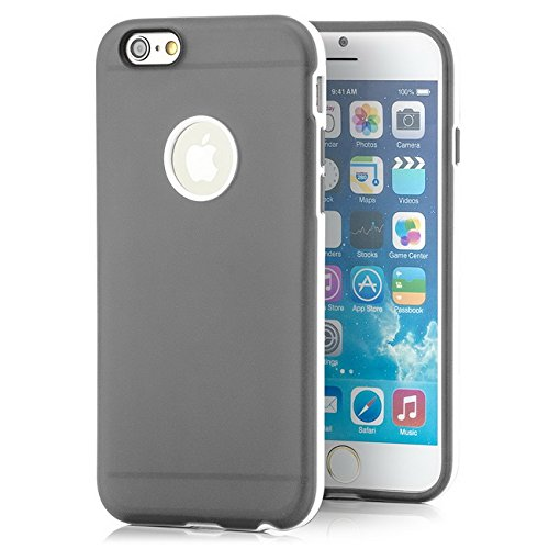 Saxonia Apple iPhone 6 Plus / 6S Plus Hülle + Schutzfolie Case Ultra Slim Cover Silikon Schutzhülle Handy Backcover Bumper Gelb Grau