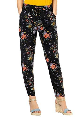 Sublevel leichte Damen Stoff-Hose mit Gummibund & Muster orange M