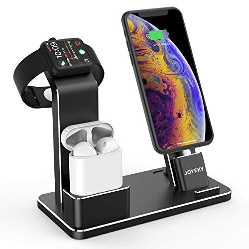 JOYEKY Apple Watch Ladestation 4 in 1 Premium-Aluminium iPhone Ladestation kompatibel mit AirPods/Watch Series 4/3/2/1/ iPhone X Max 8 8 Plus 7 7 Plus 6 5s 4/ iPad inkl. 2 Ladekabel (Schwarz) Apple-ipod-serie