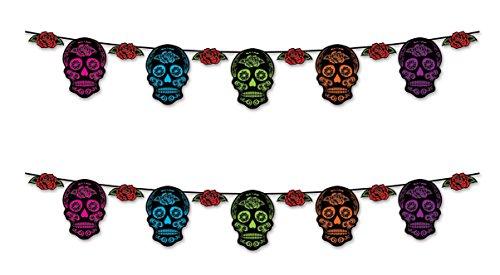 Beistle 00357, 2Stück Day Of The Dead Sugar Skull Luftschlangen, 22,9cm X 12' (Halloween Hängende Schnur Dekorationen)