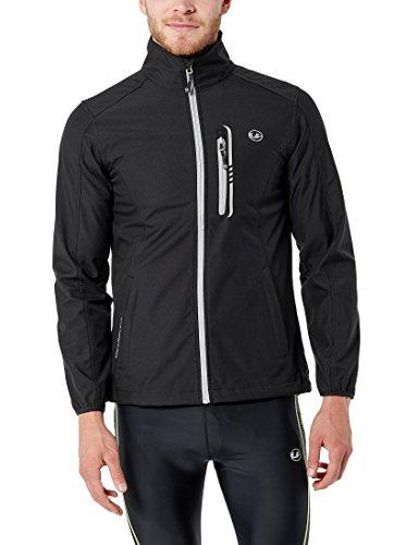 Ultrasport Herren-Funktions-Lauf-/Sport- und Outdoor-Softshelljacke Hannes mit Ultraflow 5.000, schwarz/grau, 2XL