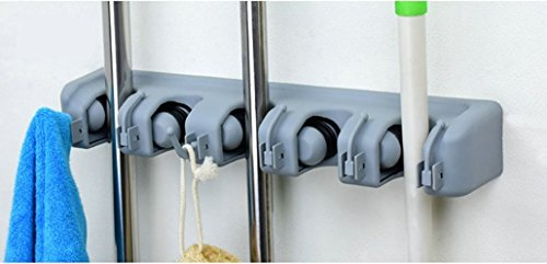 AZITEKE MOP und Besen Halter mit 5 Position und 6 Haken Wand Schrank montiert Organizer Besen Pinsel automatische Griffe Haushalt Werkzeug und Garage Lagerung Organisation Systeme. (5 Hang 6 Hook) - Schrank Garage Organizer
