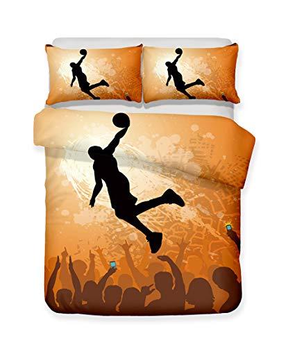 100% Mikrofaser Bettwäsche Set 3D Drucken Basketball-Meister Bettbezug-Set Single Twin Queen King Size (1 Bettbezug 2 Kissenbezüge),C,AUSingle