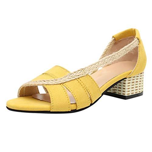 Wawer_Damen Sandalen  Women Ladies Girls Fashion Retro Patchwork Straw Thick Peep Toe Sandals Shoes, Lazy Shoes Freizeitschuhe Einzelschuhe -