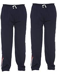 Vimal Navy Blue Striped Cotton Blended Trackpants For Men (Pack Of 2)
