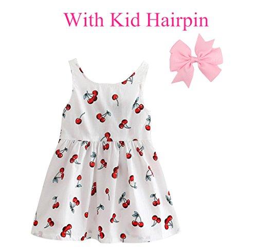 Ruimin 1pcs Mädchen Sommerkleider und 1pcs Haarnadel Mädchen ärmelloses Muster Kleid - viele Farben und Größen für Ihre Wahl