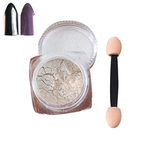 Nail Mirror Powder,Transer ® 2g / boîte Sliver Nail Glitter poudre Shinning ongles miroir maquillage Art bricolage Chrome Pigment de la poudre(Purple)
