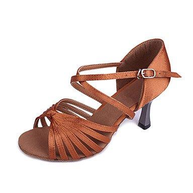 XIAMUO Angepasste Frau Satin Classic sieben Streifen kreuz Tanz Schuhe für Latein/Ballsaal Sandalen Mandel