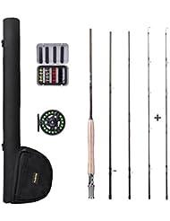 PLUSINNO® 4 pieza cañas Set Set La pesca de la pesca con mosca con caña, carrete, línea, volar y de bolsillo
