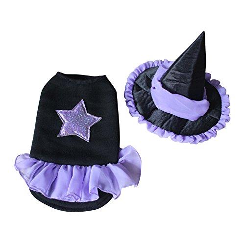 swyivy Pet Halloween Kleidung Hexe Kleid Kostüme mit Hexe Hat für Hund Katze