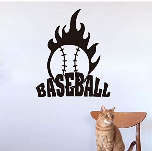 WENHAODJ Sport Baseball wandtattoos Dekoration Vinyl Kunst wandaufkleber Wohnzimmer wasserdicht Selbstklebende Kunststoff DIY zubehör 58x69 cm