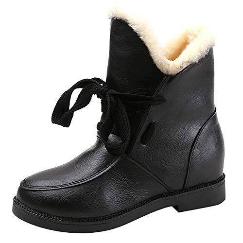 YWLINK Damen Stiefeletten Blockabsatz Chelsea Stiefel Flache Schuhe Martain Boot PU Warm Halten SchnüRschuh Wasserdicht Schuhe(37 EU,Schwarz)