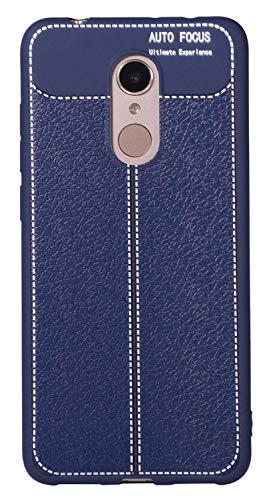 """BINGRAN Redmi 5 Hülle, Dünne Soft Weiche Robuste TPU Silikon mit Litschi Muster Design Handyhülle Case Schützende Hülle für Xiaomi Hongmi 5 5.7"""" Dark Blau"""